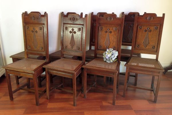 Product Description. This amazing set of eight rare antique oak church  dining chairs ... - Rare Set Of Eight Antique French Oak Church Dining Chairs - G108