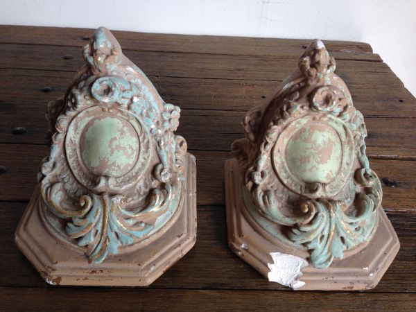 PAIR of Rare Antique French Plaster Church Corbels Sconces Circa 1860 - g127 View2