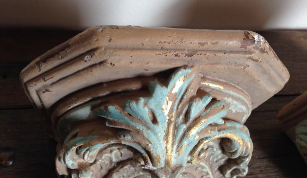 PAIR of Rare Antique French Plaster Church Corbels Sconces Circa 1860 - g127 View7