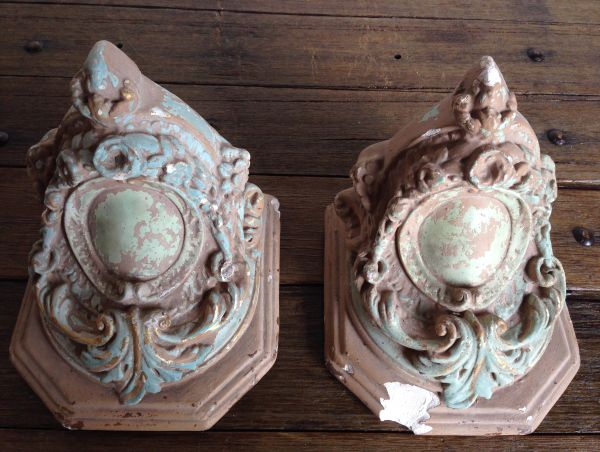 PAIR of Rare Antique French Plaster Church Corbels Sconces Circa 1860 - g127 View9
