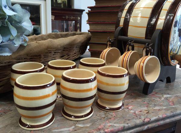 Vintage French Breton HB Quimper Set of Six Goblets - a515 View2