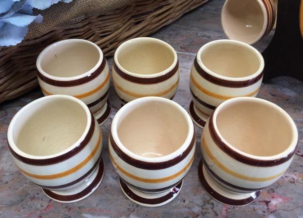 Vintage French Breton HB Quimper Set of Six Goblets - a515 View4