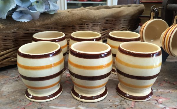 Vintage French Breton HB Quimper Set of Six Goblets - a515 Main