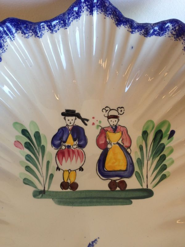 Vintage French Breton Faience Fluted Dish Bowl - a524 View2