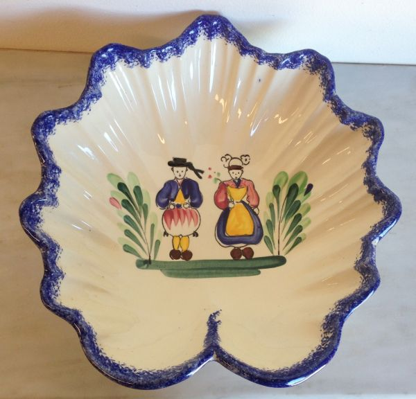 Vintage French Breton Faience Fluted Dish Bowl - a524 Main