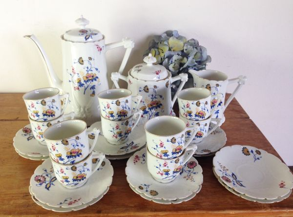 Antique French & Cie Limoges Floral Porcelain Coffee Set - a536 View2