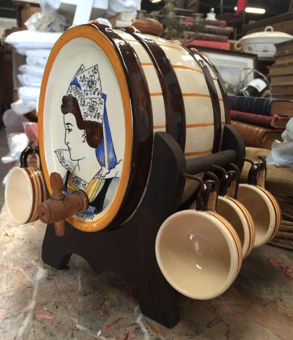 Vintage French Breton HB Quimper Liquor Set Barrel and Goblets - c183 Main