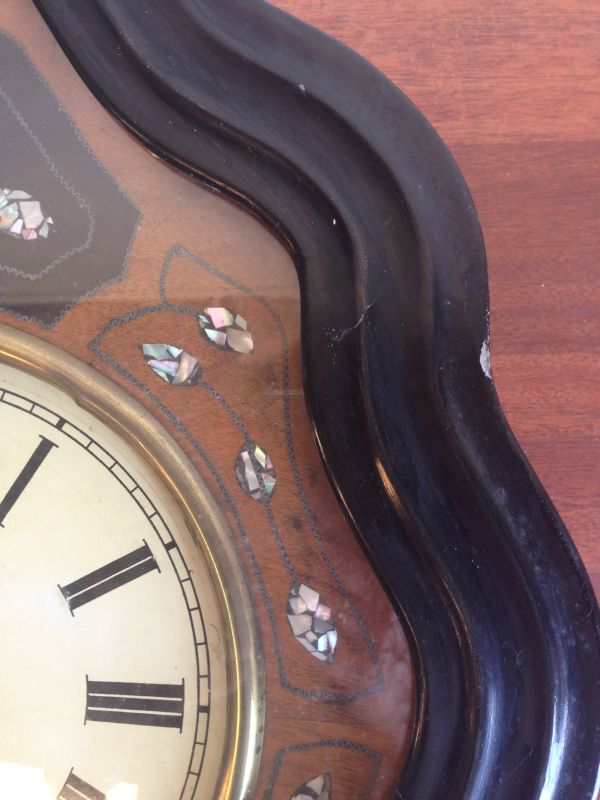Antique French Large Oeil de Boeuf Oak Wall Clock - e085 View4