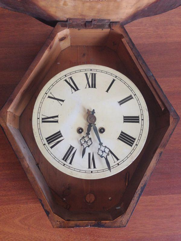 Antique French Large Oeil de Boeuf Oak Wall Clock - e085 View7
