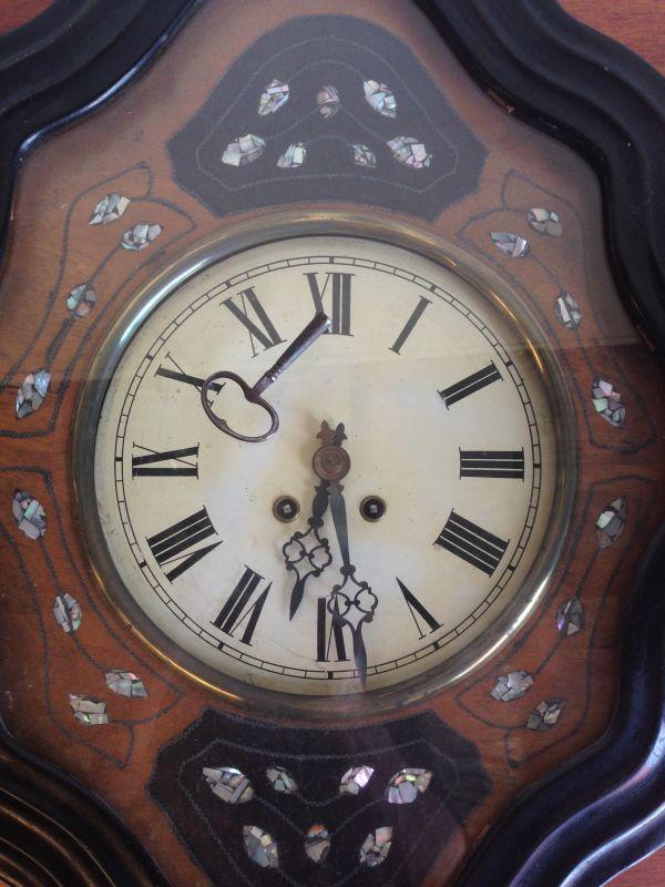 Antique French Large Oeil de Boeuf Oak Wall Clock - e085 View9