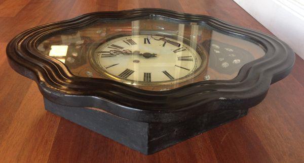 Antique French Large Oeil de Boeuf Oak Wall Clock - e085 View10