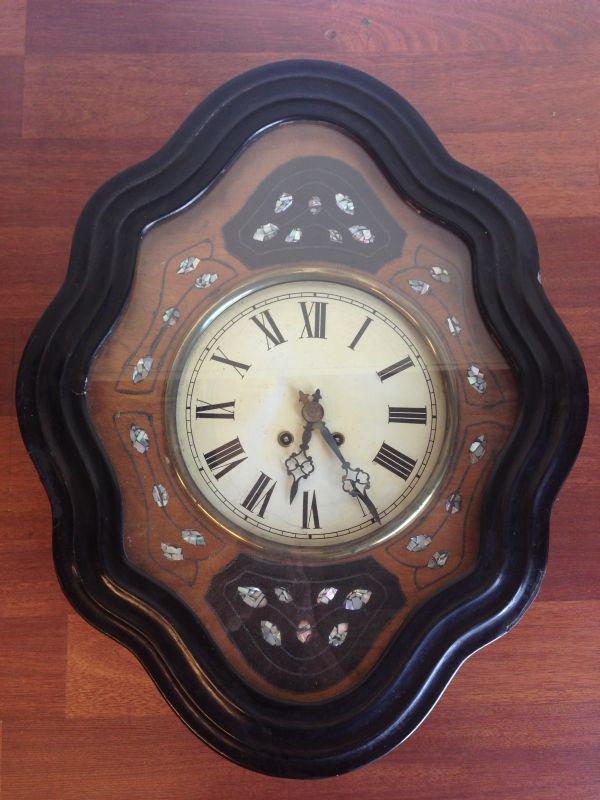 Antique French Large Oeil de Boeuf Oak Wall Clock - e085 Main