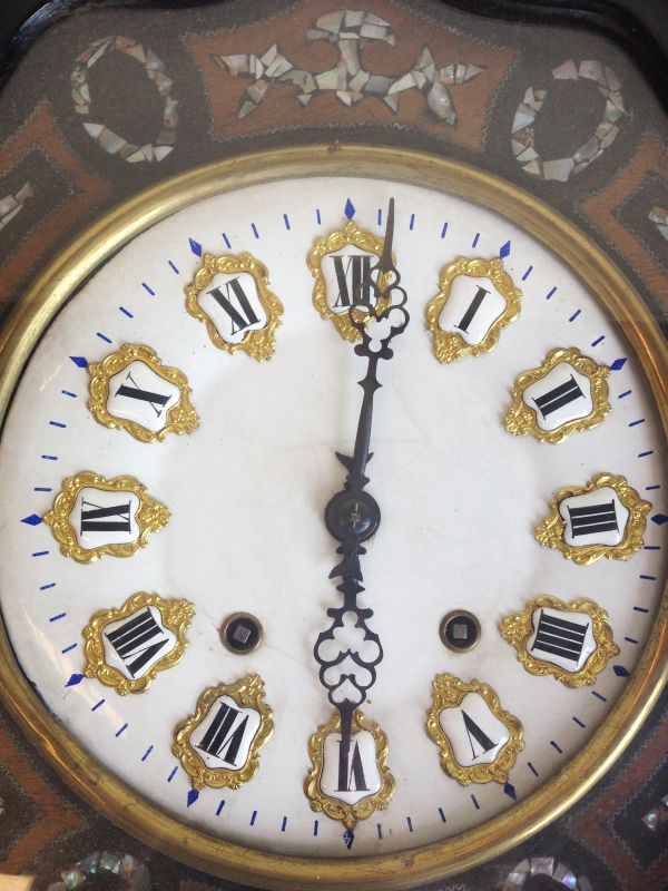 Antique French Large Oeil de Boeuf Oak Wall Clock - f006 View2
