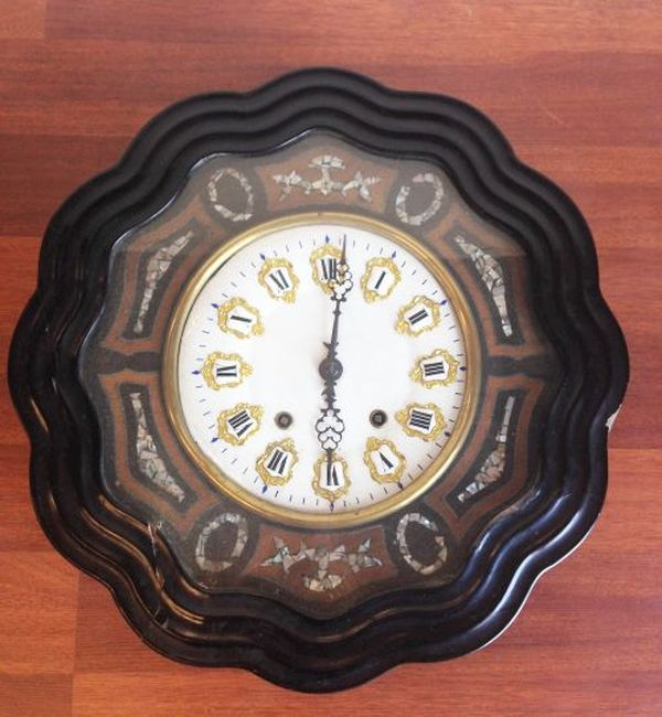 Antique French Large Oeil de Boeuf Oak Wall Clock - f006 Main