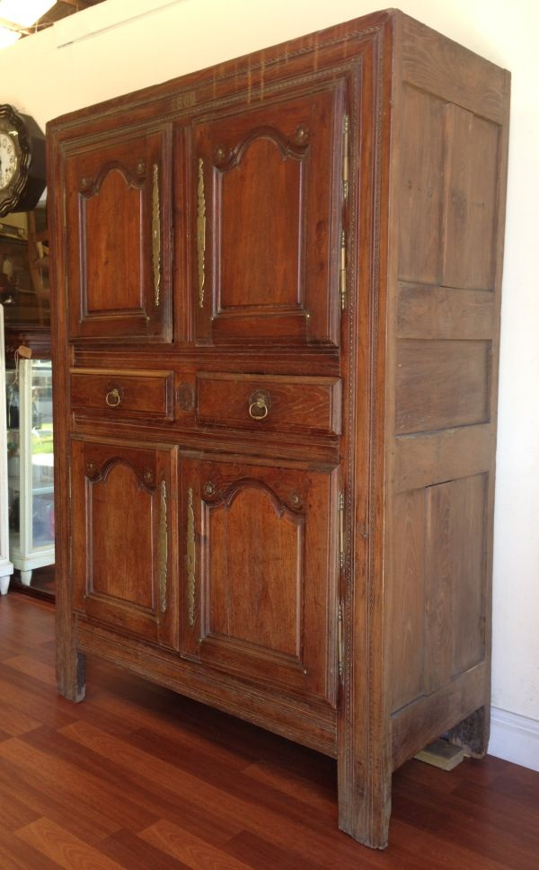 Antique French Walnut Rustic Armoire Cabinet Cupboard Circa 1800's - g123 View3