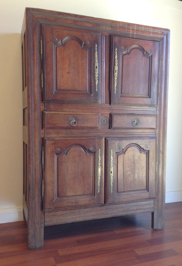 Antique French Walnut Rustic Armoire Cabinet Cupboard Circa 1800's - g123 View4