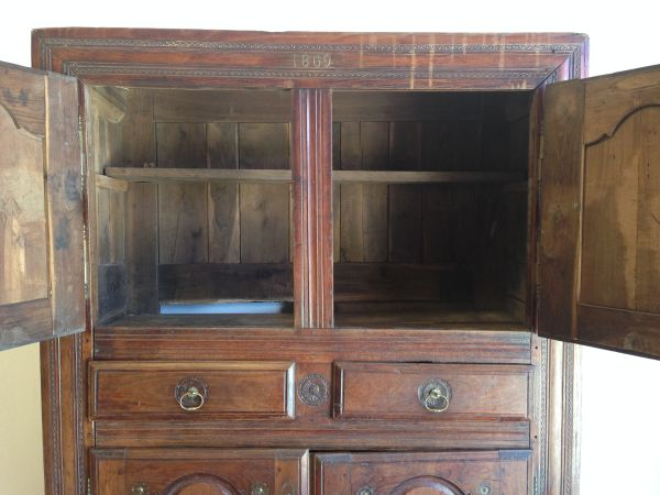 Antique French Walnut Rustic Armoire Cabinet Cupboard Circa 1800's - g123 View8