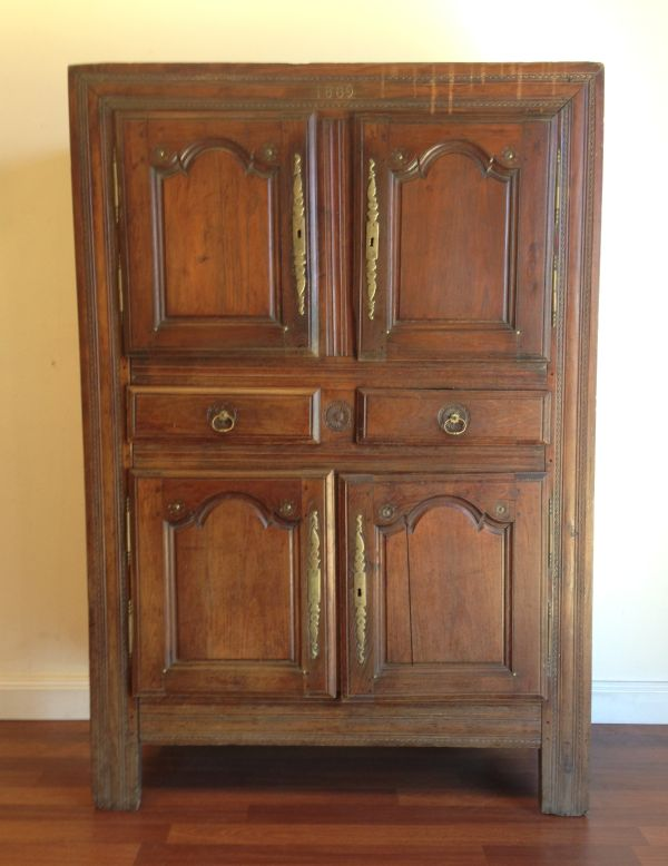 Antique French Walnut Rustic Armoire Cabinet Cupboard Circa 1800's - g123 Main
