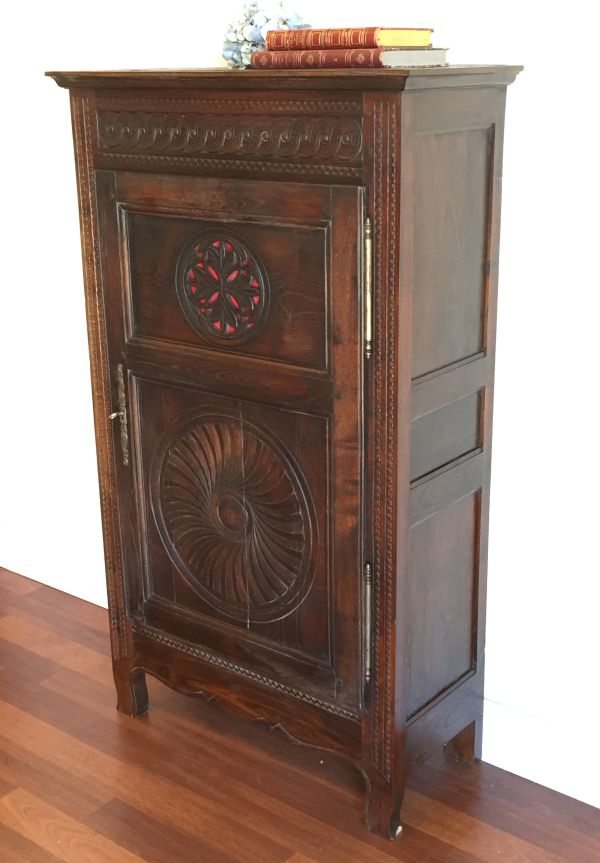 Antique French Breton Oak Bonnetiere Armoire Circa 1880 - h071 	 View2