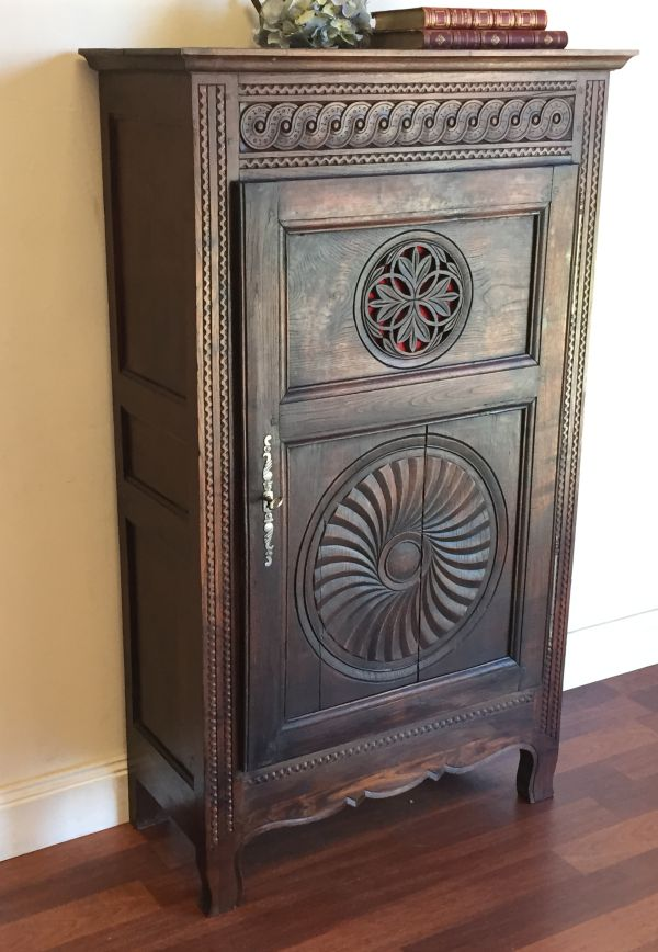 Antique French Breton Oak Bonnetiere Armoire Circa 1880 - h071 	 View3
