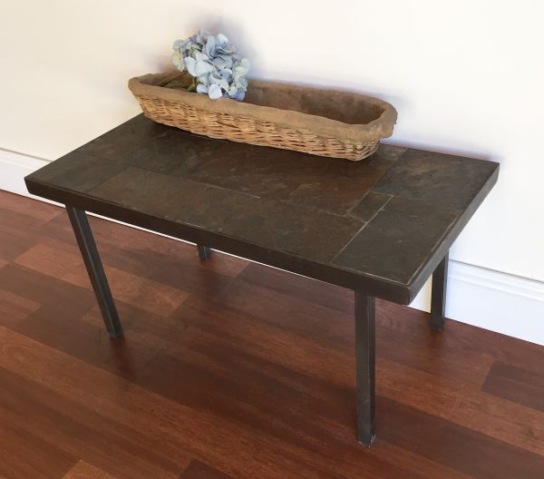 Vintage French Slate and Iron Coffee Table - h061 View2