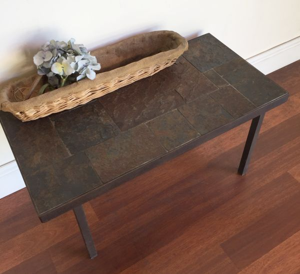 Vintage French Slate and Iron Coffee Table - h061 View3