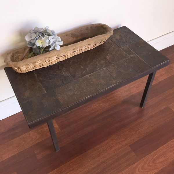 Vintage French Slate and Iron Coffee Table - h061 View4