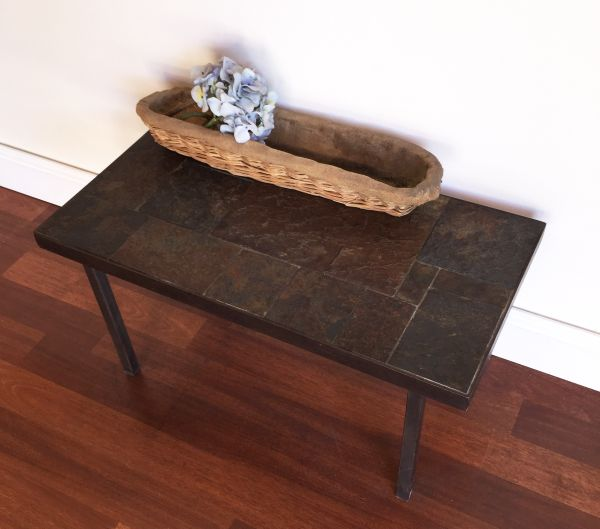 Vintage French Slate and Iron Coffee Table - h061 View5