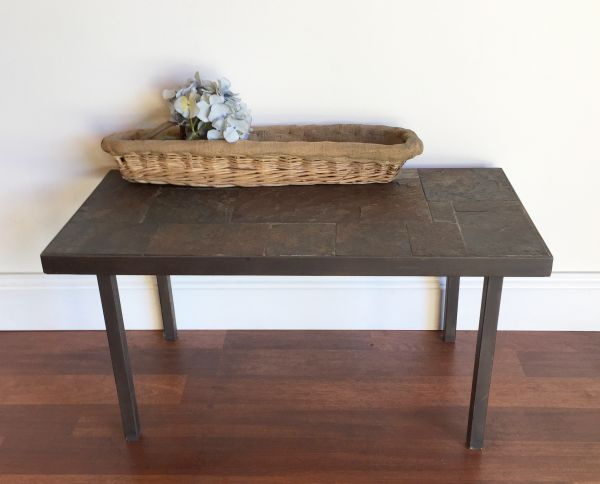 Vintage French Slate and Iron Coffee Table - h061 Main