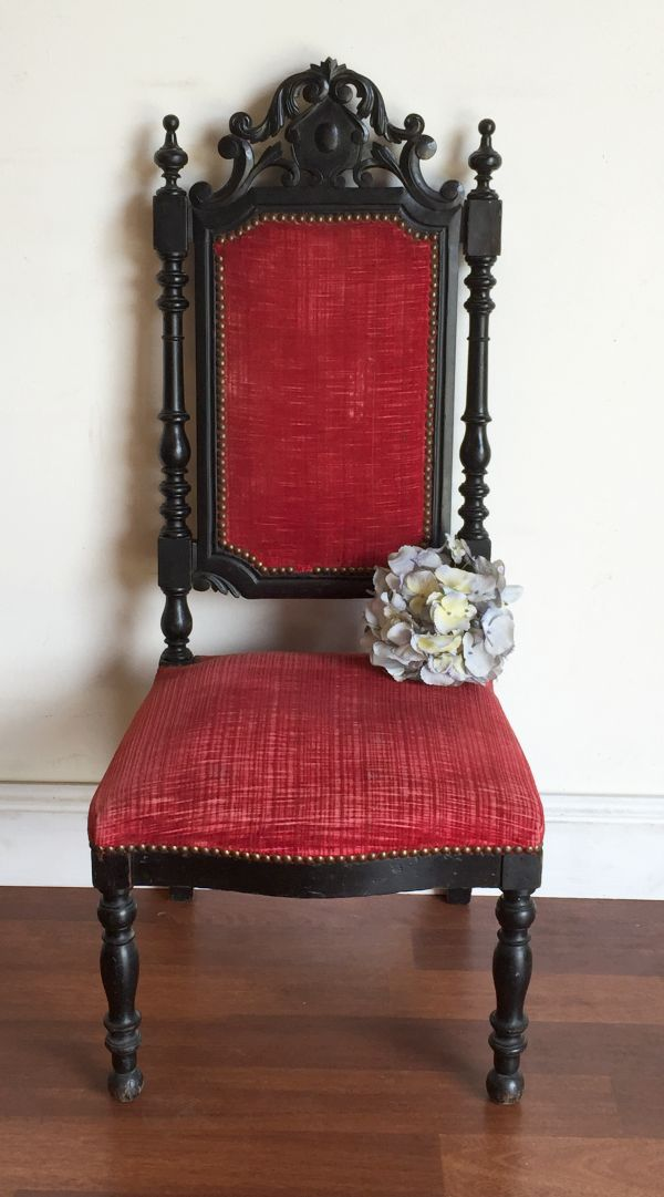 Product Description - Antique French Napoleon III Oak Chauffeuse Fireside Chair Bailey
