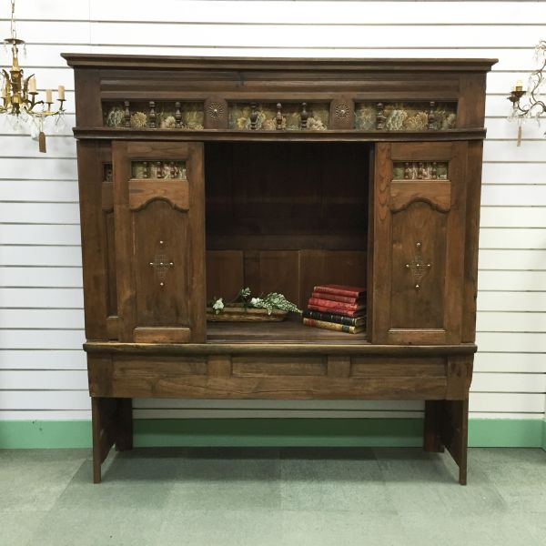 Rare Antique French Oak Lit - Clos Enclosed Bed Fabulous Television Cabinet - Library Bookcase - Bedhead - i252 View4