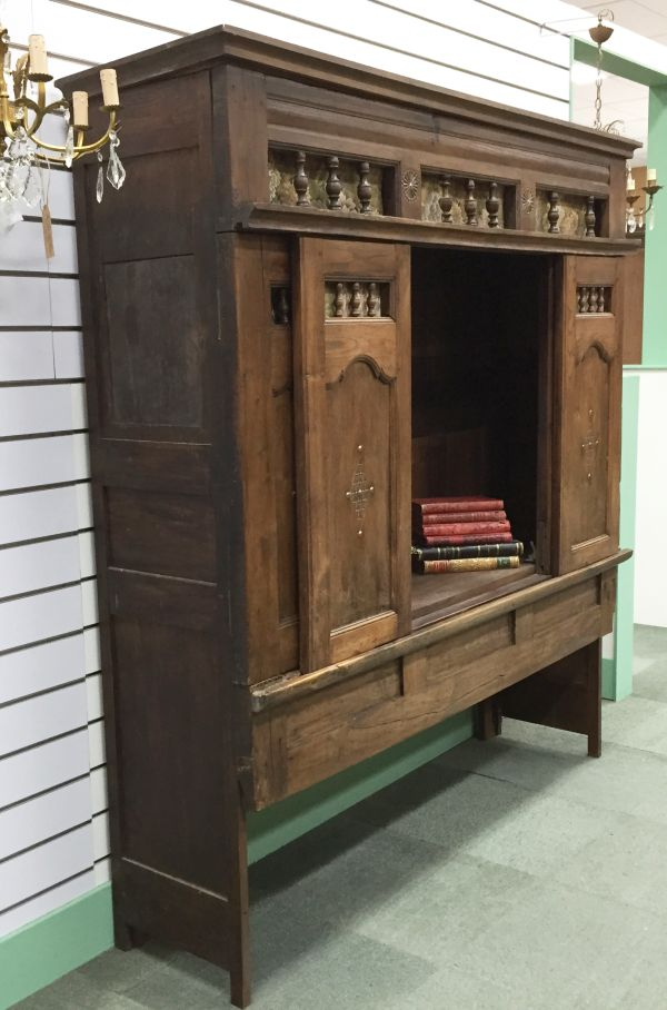 Rare Antique French Oak Lit - Clos Enclosed Bed Fabulous Television Cabinet - Library Bookcase - Bedhead - i252 View5