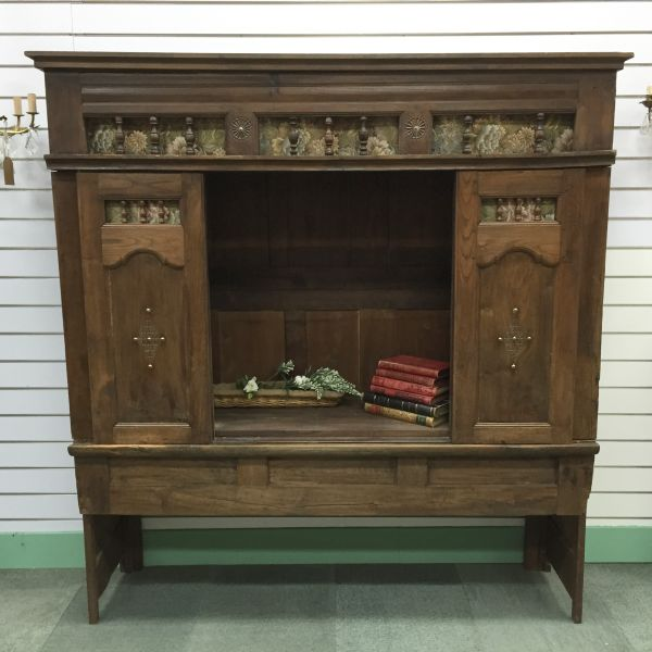 Rare Antique French Oak Lit - Clos Enclosed Bed Fabulous Television Cabinet - Library Bookcase - Bedhead - i252 View6