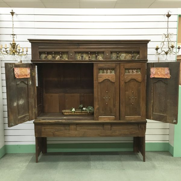 Rare Antique French Oak Lit - Clos Enclosed Bed Fabulous Television Cabinet - Library Bookcase - Bedhead - i252 View7