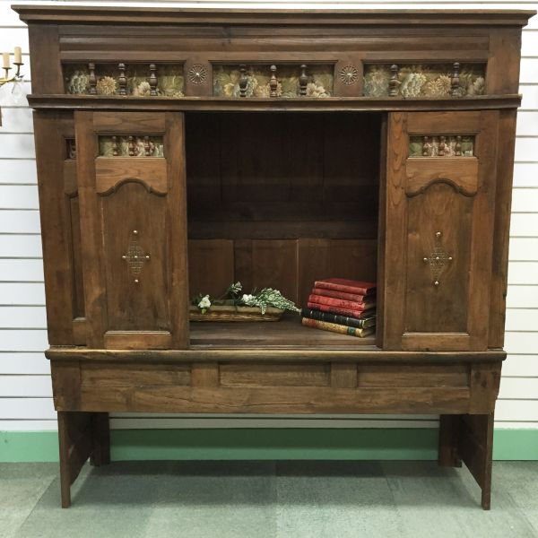 Rare Antique French Oak Lit - Clos Enclosed Bed Fabulous Television Cabinet - Library Bookcase - Bedhead - i252 View10