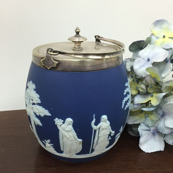 Rare Antique Wedgwood Cobalt Blue Jasper Design Biscuit Barrel - p40w View2