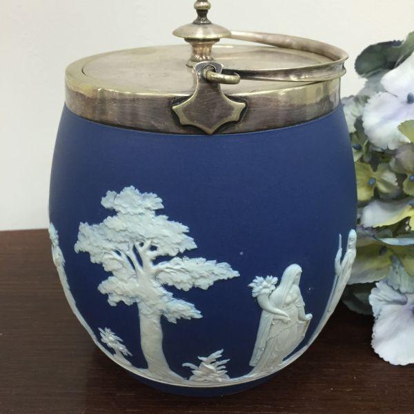 Rare Antique Wedgwood Cobalt Blue Jasper Design Biscuit Barrel - p40w View4