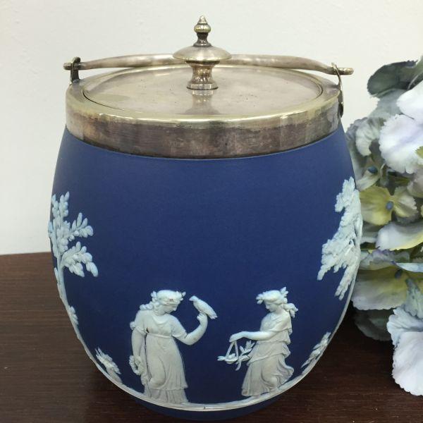 Rare Antique Wedgwood Cobalt Blue Jasper Design Biscuit Barrel - p40w View5