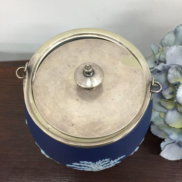Rare Antique Wedgwood Cobalt Blue Jasper Design Biscuit Barrel - p40w View7