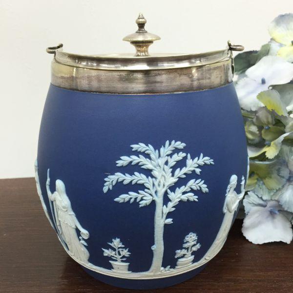 Rare Antique Wedgwood Cobalt Blue Jasper Design Biscuit Barrel - p40w Main
