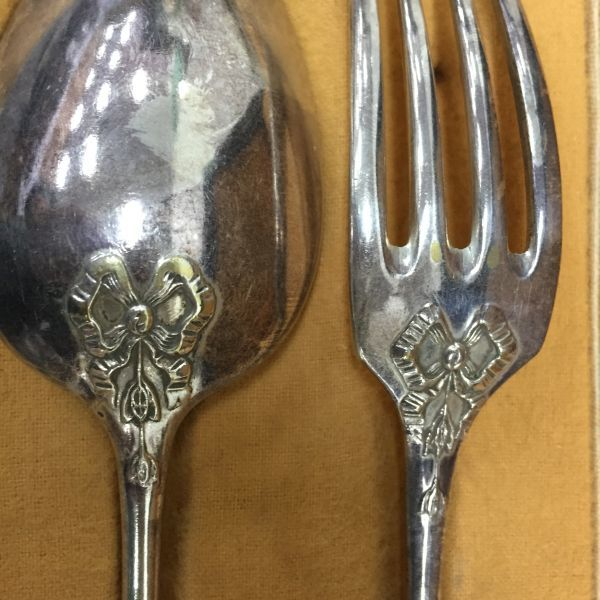 Antique French Silver Plated Boxed Fork and Spoon - c205a View2