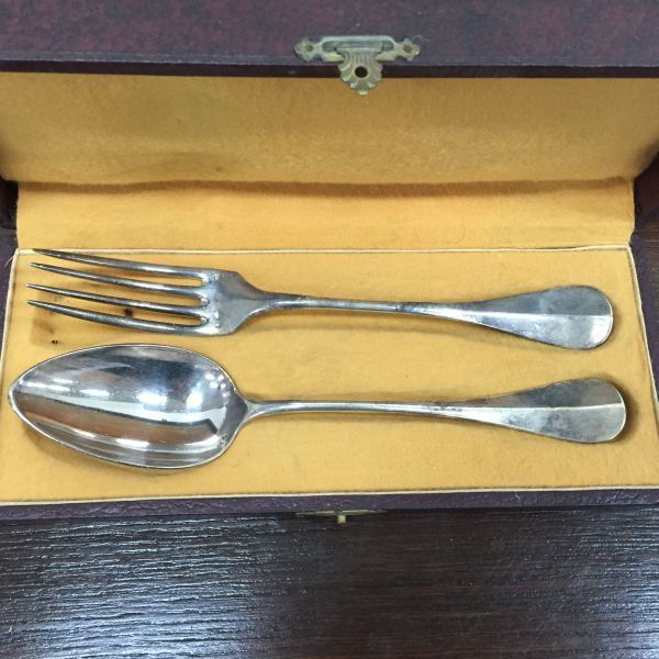 Antique French Silver Plated Boxed Fork and Spoon - c205a View3