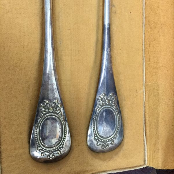Antique French Silver Plated Boxed Fork and Spoon - c205a View4