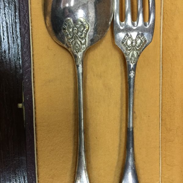 Antique French Silver Plated Boxed Fork and Spoon - c205a View5