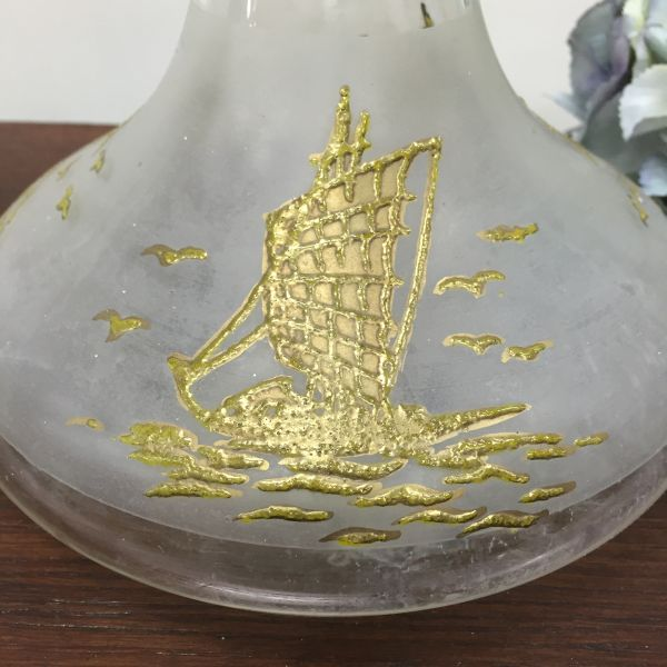 Vintage Gold Embossed Ship's Decanter Wine or Port decanter View3