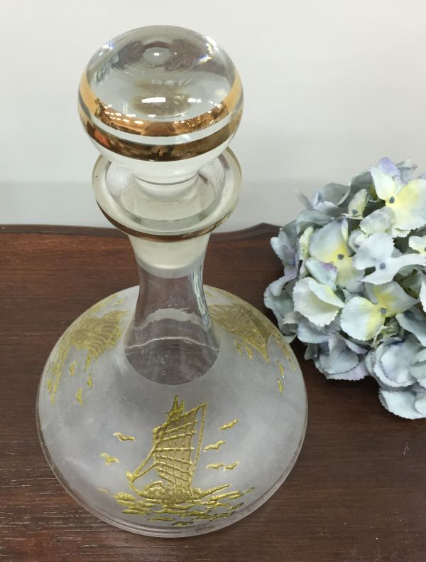 Vintage Gold Embossed Ship's Decanter Wine or Port decanter View4