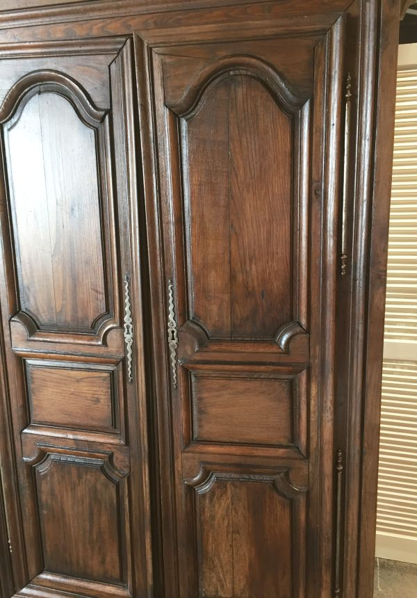 antique french grand oak armoire wardrobe or linen closet