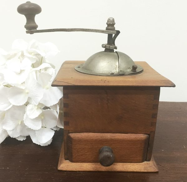 Antique French Oak Coffee Grinder - j093 Main
