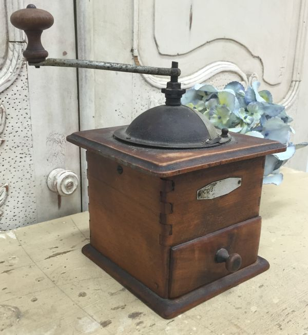 Antique French Oak Coffee Grinder - j094a Main