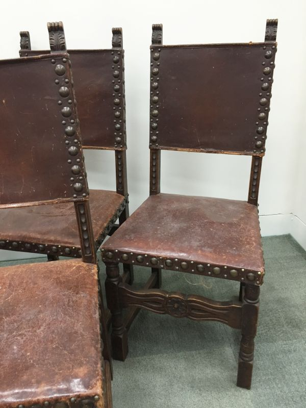 Set of six 6 antique french oak studded leather for Studded dining room chairs